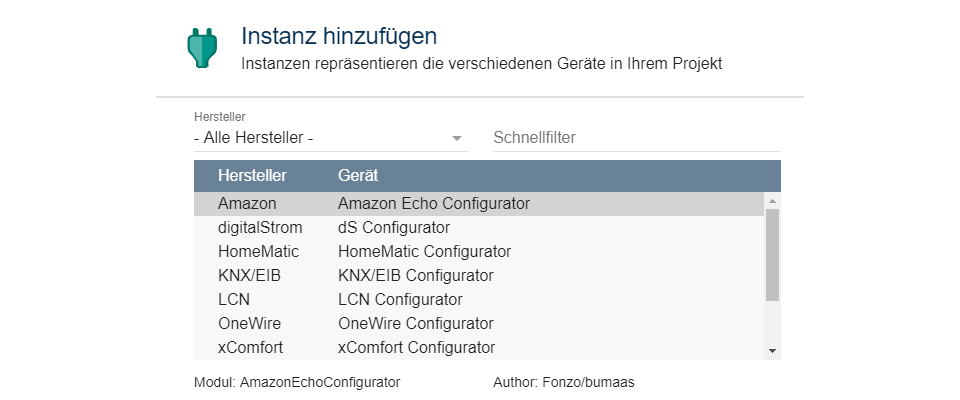 Amazon Echo Configurator in IP-Symcon